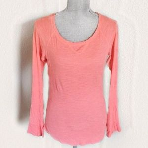 Aerie Waffle Knit Thermal Shirt Coral Pink